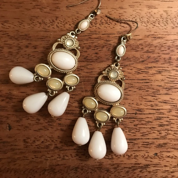Francescas Collections Jewelry White And Gold Costume Earrings